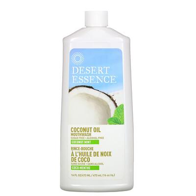 Desert Essence Ополаскиватель для полости рта с кокосовым маслом, Кокос и мята, 16 унций (480 мл)  - купить со скидкой