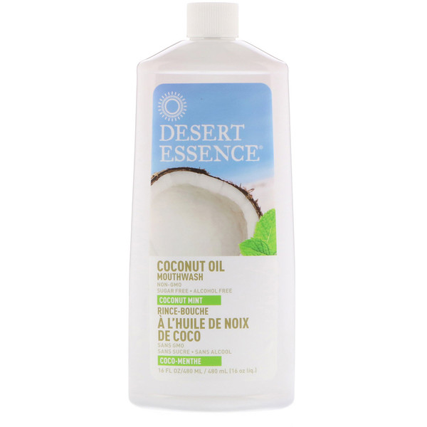 Desert Essence, Enjuague bucal de aceite de coco, Coco Menta, 16 fl oz (480 ml)