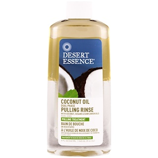 Desert Essence, Coconut Oil Dual Phase Pulling Rinse, 8 fl oz (240 ml)