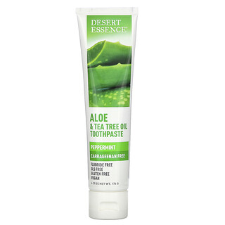 Desert Essence, Aloe & Tea Tree Oil Toothpaste, Peppermint, 6.25 oz (176 g)