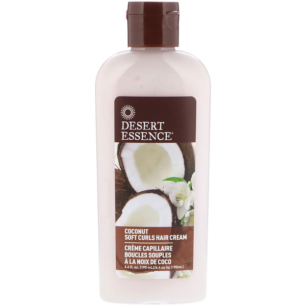 Desert Essence, Soft Curls Hair Cream, Coconut, 6.4 fl oz (190 ml)