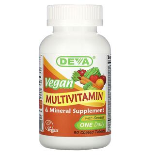 Deva, Vegan Multivitamin & Mineral Supplement, One Daily, 90 Coated Tablets