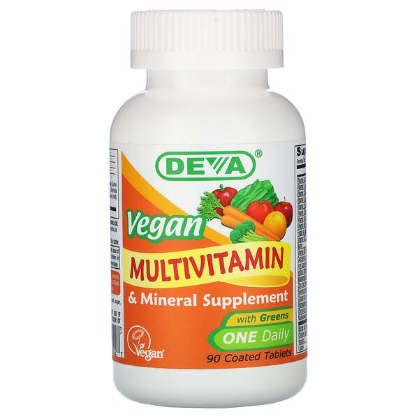 Deva, 純素複合維生素和礦物質補充劑,90 片包衣片