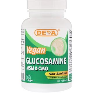 Deva, Vegan Glucosamine MSM & CMO, Non-Shellfish, 90 Tablets