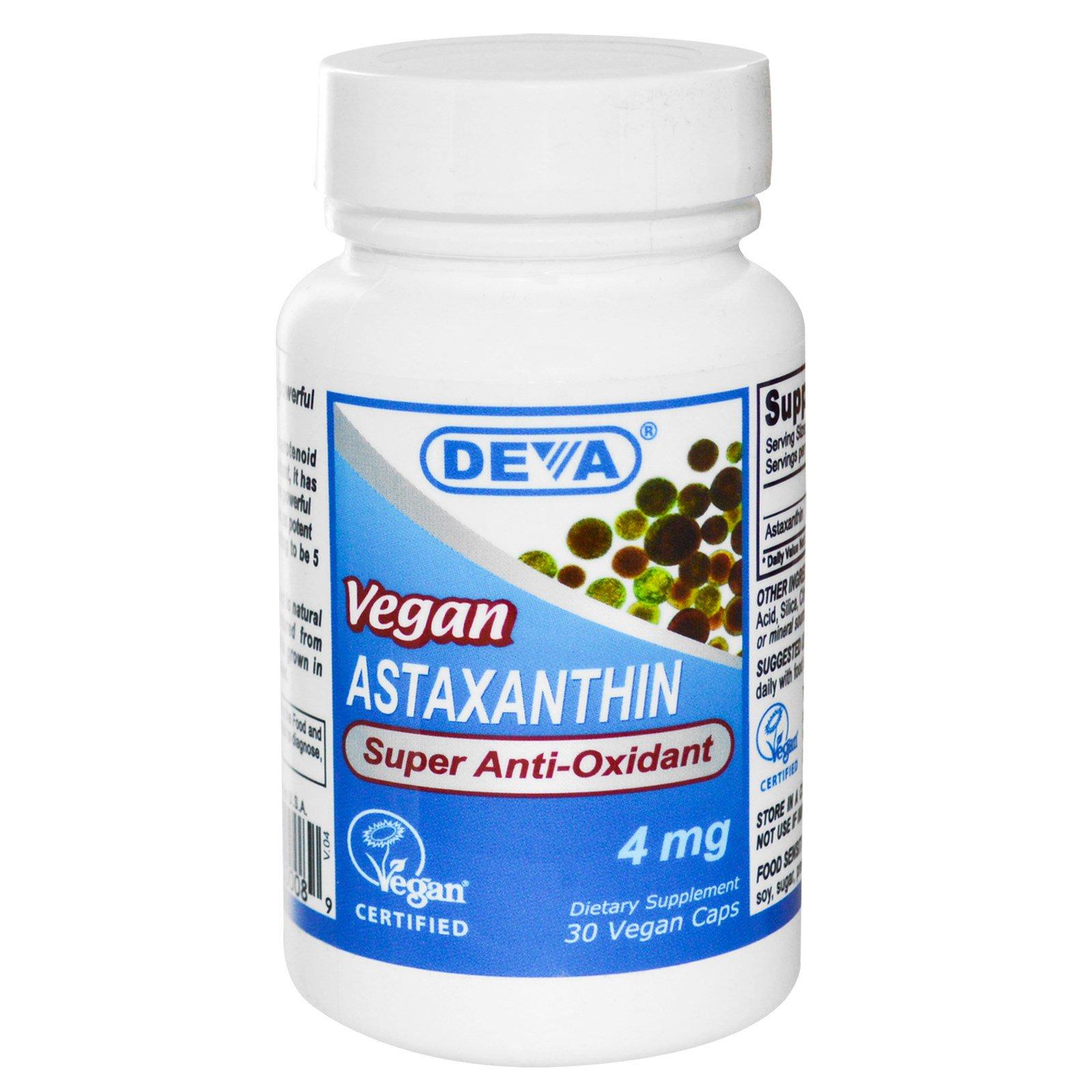 Deva, Астаксантин, веганский, 4 мг, 30 веганских капсул