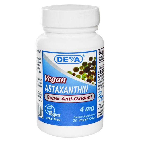Deva, Vegan, Astaxanthin, 4 mg, 30 Vegan Caps (Discontinued Item)