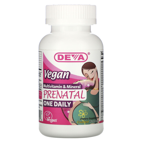 Deva, Vegan Prenatal Multivitamin & Mineral, One Daily, 90 Coated Tablets
