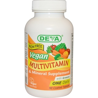 Deva, Vegan, Multivitamin & Mineral Supplement, Iron Free, 90 Coated Tablets