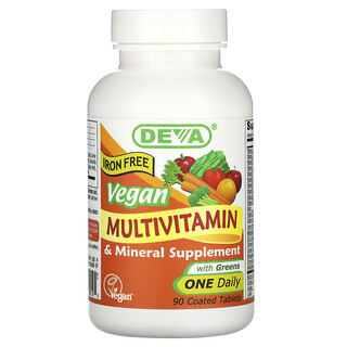 Deva, Vegan Multivitamin & Mineral Supplement with Greens, Iron Free, 90 Coated Tablets