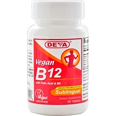 Deva, Vegan B12、Sublingual、90 Tablets