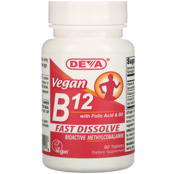 Deva, Vegan B12 with Folic Acid & B6, 90 Tablets