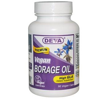 Deva, Cápsulas de Aceite de Borraja, 90 unidades. Apto para veganos.