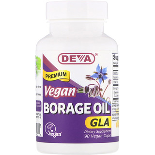 Deva, Vegan, Premium Borage Oil, GLA, 90 Vegan Caps