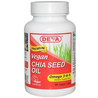 Deva, Vegan, Chia Seed Oil, Omega 3-6-9, 90 Vegan Caps