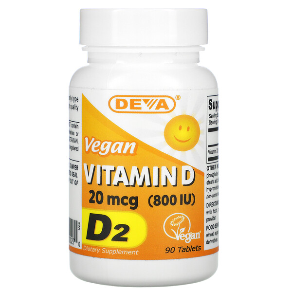 Deva, Vegan Vitamin D, D2, 20 mcg (800 IU), 90 Tablets