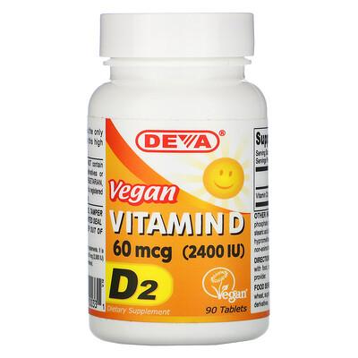 Deva веганский витаминD, D2, 60мкг (2400МЕ), 90таблеток
