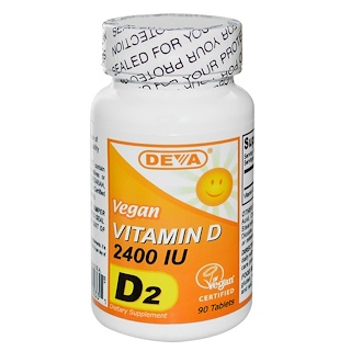 Deva, Vegan, Vitamin D, D2, 2400 IU, 90 Tablets