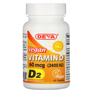 Дева, Vegan Vitamin D, D2, 60 mcg (2,400 IU), 90 Tablets отзывы покупателей