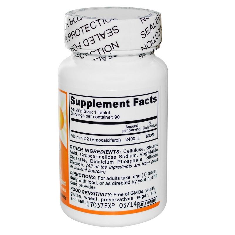 Deva, Vegan, Vitamin D, D2, 2400 IU, 90 Tablets - photo 1