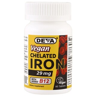 Deva, Vegan Chelated Iron, 29 mg, 90 comprimidos