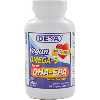 Deva, Omega-3 végétal,  DHA-EPA, 300 mg, 90 capsules molles