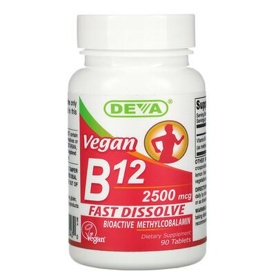 Купить Deva Vegan B12, 2, 500 mcg, 90 Tablets