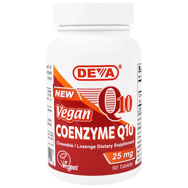 Deva, Vegan, Coenzyme Q10, 25 mg, 90 Tablets