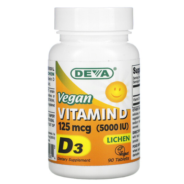 Vegan Vitamin D, 125 mcg (5,000 IU), 90 Tablets