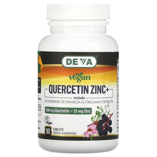 Deva, Vegan Quercetin, 500 mg, Zinc+, 25 mg, 90 Tablets