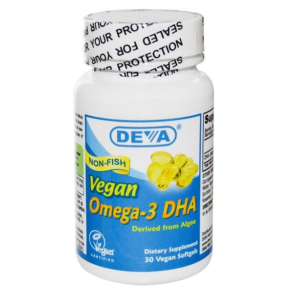 Deva, Омега-3 ДГК, 30 вегетарианских мягких капсул (Discontinued Item)