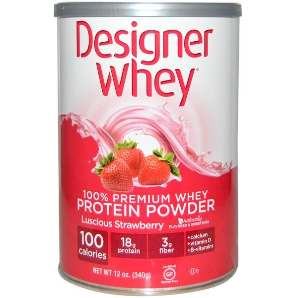 Designer Whey, 100% Premium Whey Protein Powder, Luscious Strawberry, 12 oz (340 g) (Discontinued Item)