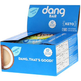 Dang Foods LLC, Keto Bar, Variety Pack, 12 Bars, 1.4 oz (40 g) Each
