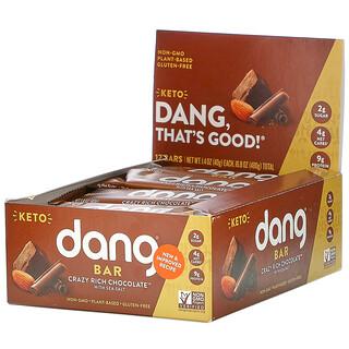 Dang, 케토 바, 바다 소금 함유 크레이지 리치 초콜릿, 12개입, 개당 40g(1.4oz)