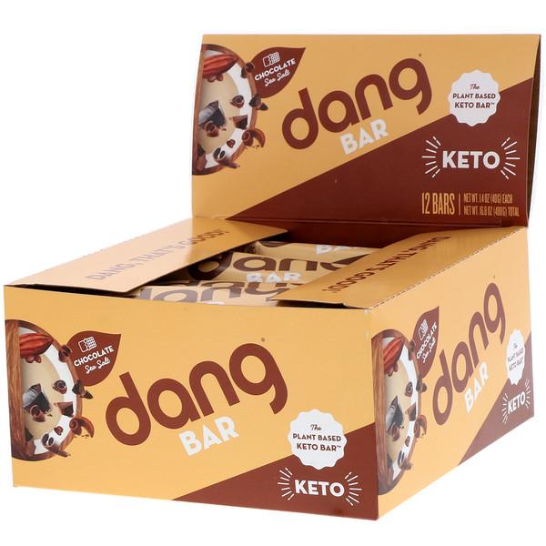 Dang Foods LLC, Кето-батончик, шоколад и морская соль, 12 батончиков, 1,4 унции (40 г) каждый