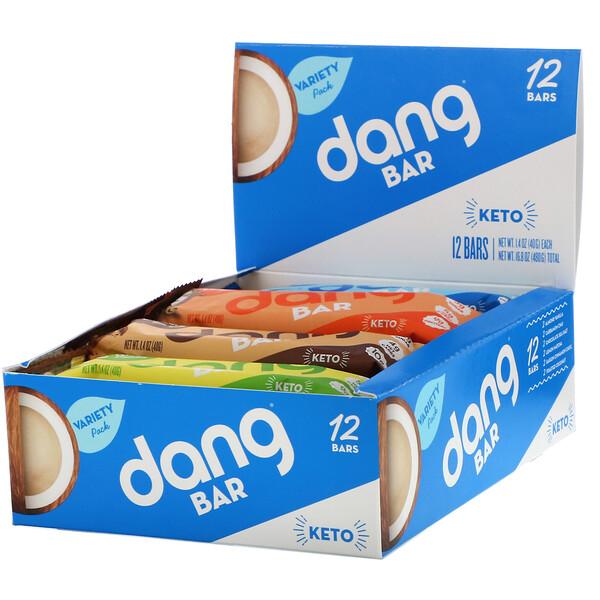Dang, Keto Bar, Variety Pack, 12 Bars, 1.4 oz (40 g) Each (Discontinued Item)
