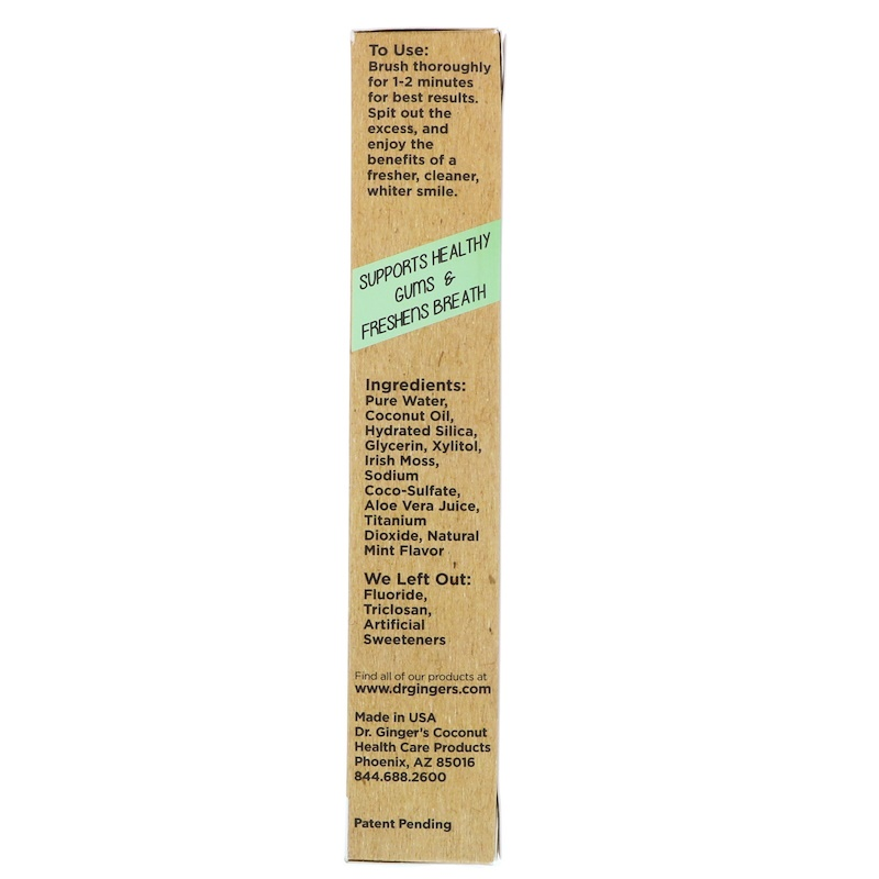 Dr. Ginger's, Coconut Toothpaste, Coconut Mint, 4 oz (118 g) - photo 1