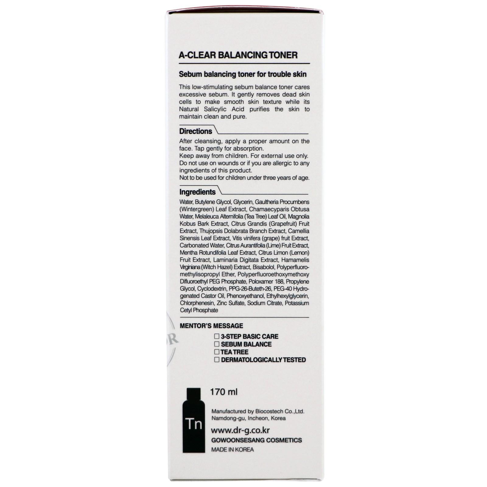 Dr. G, A-Clear, Balancing Toner, 5.74 fl oz(pack of 4) Lierac Homme Ultra-Moisturizing Comforting Balm, 1.83 Oz + Scunci Black Roller Pins, 18 Pcs