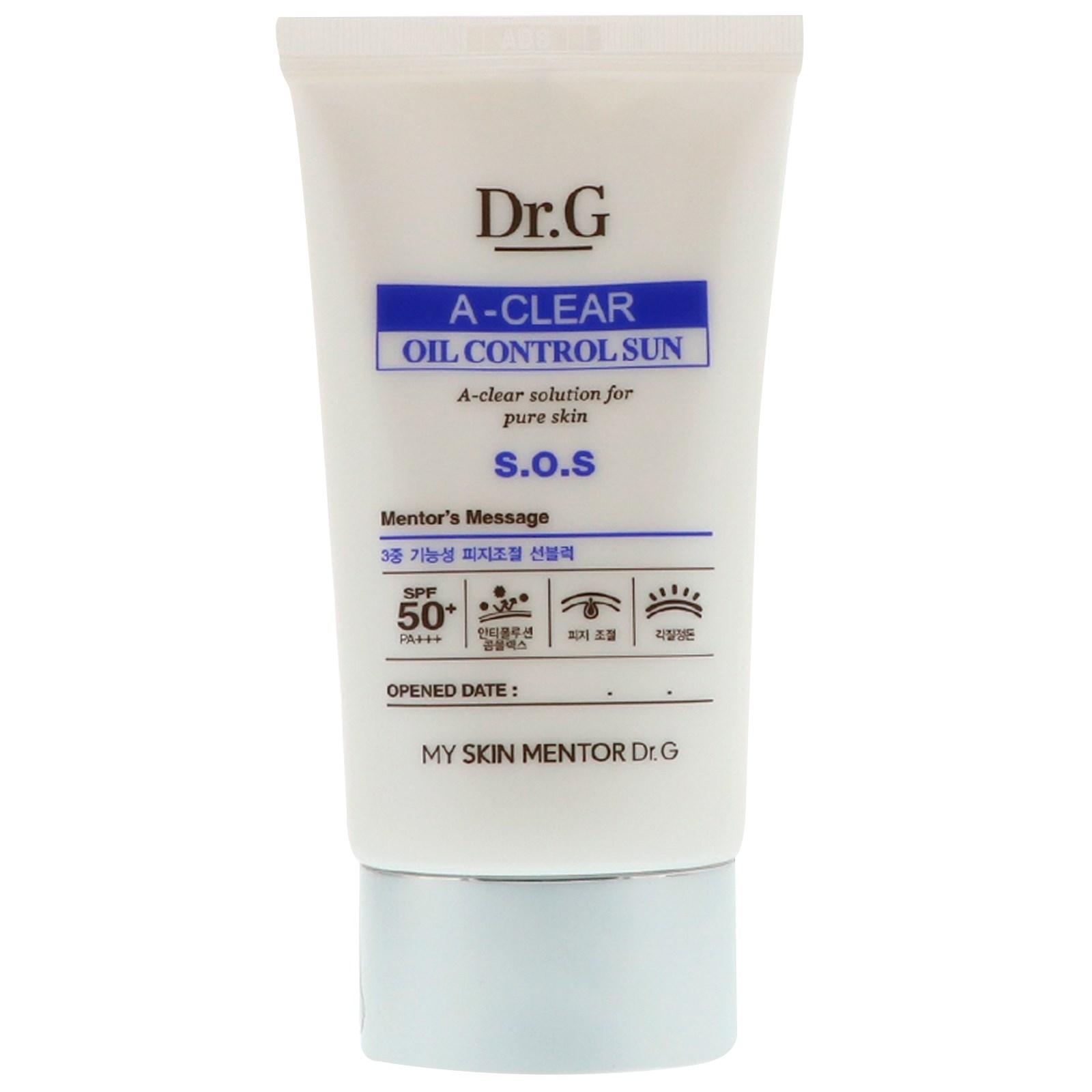 Dr. G, A-Clear, крем для солнца, контролирующий жировой баланс, SPF50+ PA++, 1,69 ж. унц. (50 мл)