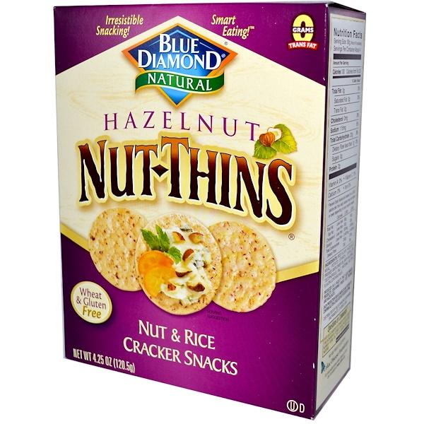 Blue Diamond, Natural, Hazelnut Nut-Thins, Nut & Rice Cracker Snacks, 4.25 oz (120.5 g) (Discontinued Item)