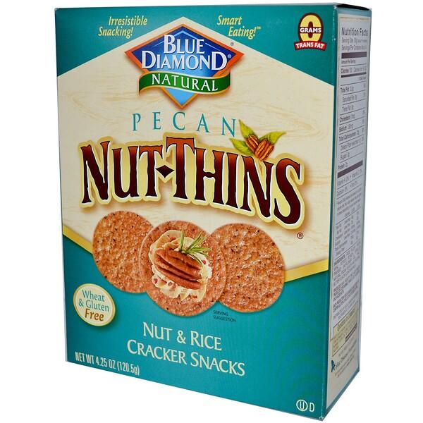 Blue Diamond, Pecan Nut-Thins, Nut & Rice Cracker Snacks, 4.25 oz (120.5 g)