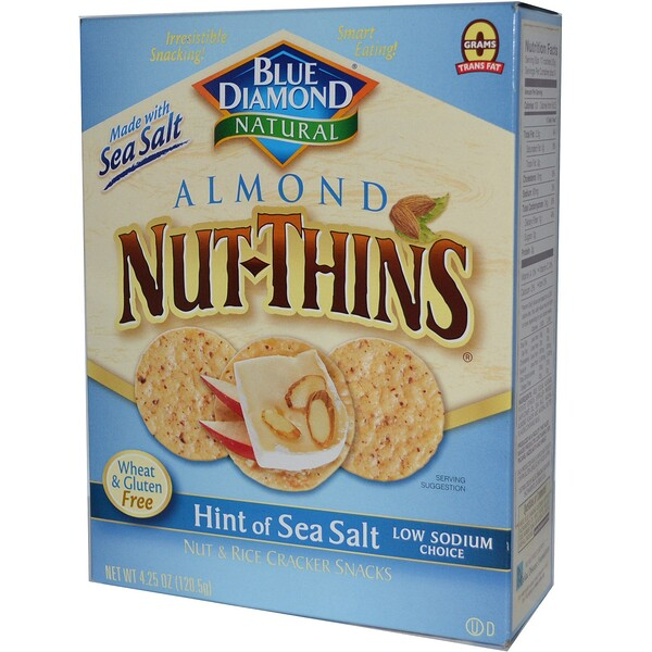 Blue Diamond, Almond Nut-Thins, Nut & Rice Cracker Snacks, Hint of Sea Salt, 4.25 oz (120.5 g)