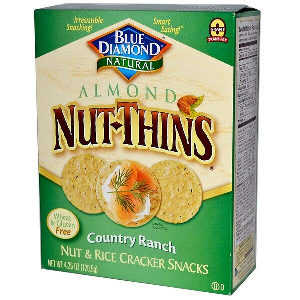 Blue Diamond, Almond Nut-Thins, Nut & Rice Cracker Snacks, Country Ranch, 4.25 oz (120.5 g)