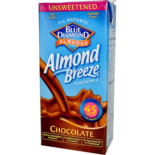 Blue Diamond, アーモンドブリーズ, アーモンドミルク, 無糖, チョコレート, 32液量オンス (946 ml) (Discontinued Item)