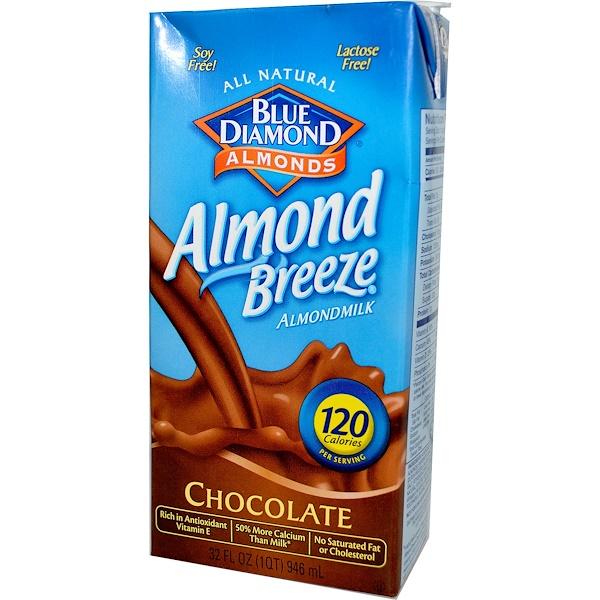 Blue Diamond, Миндальный бриз, Шоколадное миндальное молоко, 32 жидких унции (946 мл) (Discontinued Item)