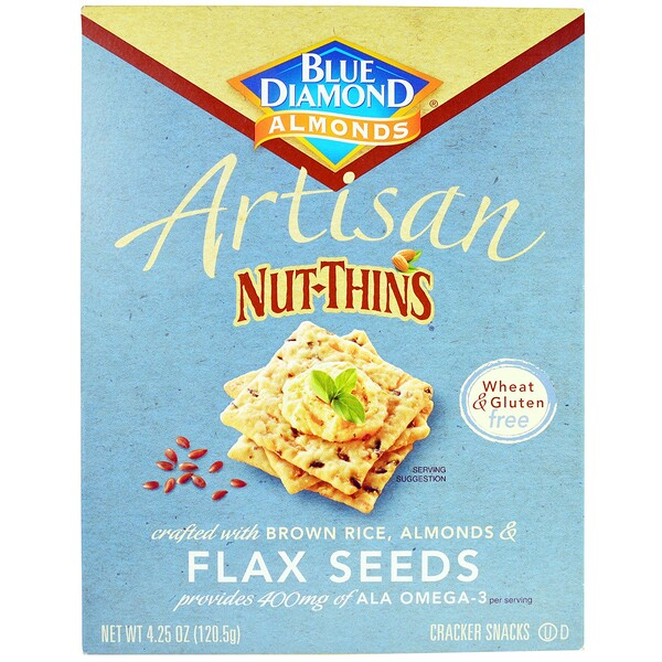 Blue Diamond, Artisan Nut-Thins, Flax Seeds Cracker Snacks, 4.25 oz (120.5 g) (Discontinued Item)