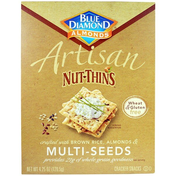 Blue Diamond, Artisan Nut-Thins, Multi-Seeds Cracker Snacks, 4.25 oz (120.5 g) (Discontinued Item)