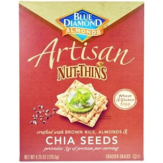Blue Diamond, Artisan Nut-Thins, Chia Seeds Cracker Snacks, 4.25 oz (120.5 g)