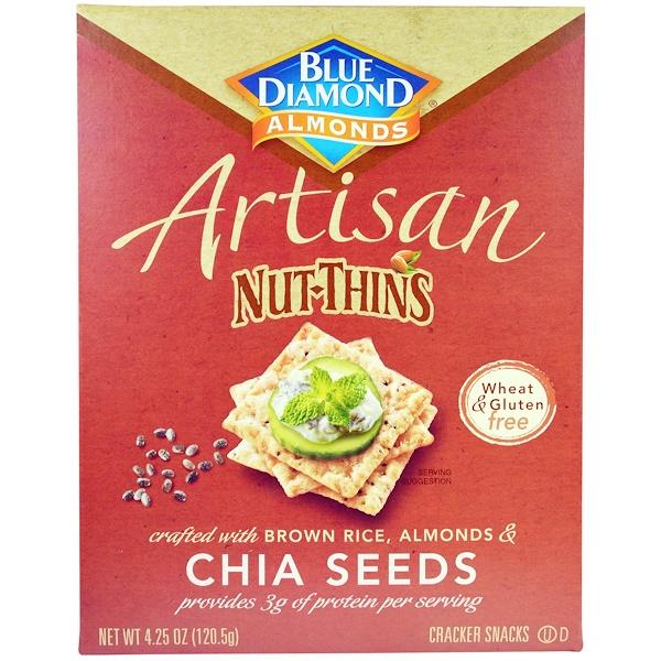 Blue Diamond, Artisan Nut-Thins, Chia Seeds Cracker Snacks, 4.25 oz (120.5 g) (Discontinued Item)