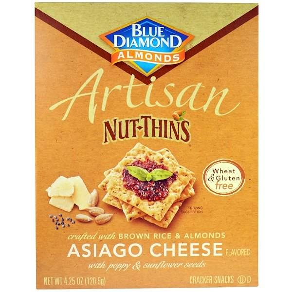 Blue Diamond, Artisan Nut-Thins, Asiago Cheese Cracker Snacks, 4.24 oz (120.5 g) (Discontinued Item)