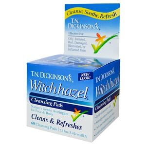 Dickinson Brands, Очищающие подушечки с гамамелисом от компании T.N. Dickinson, 60 подушечек диаметром 2,13 дюйма (5,41 см) инструкция, применение, состав, противопоказания